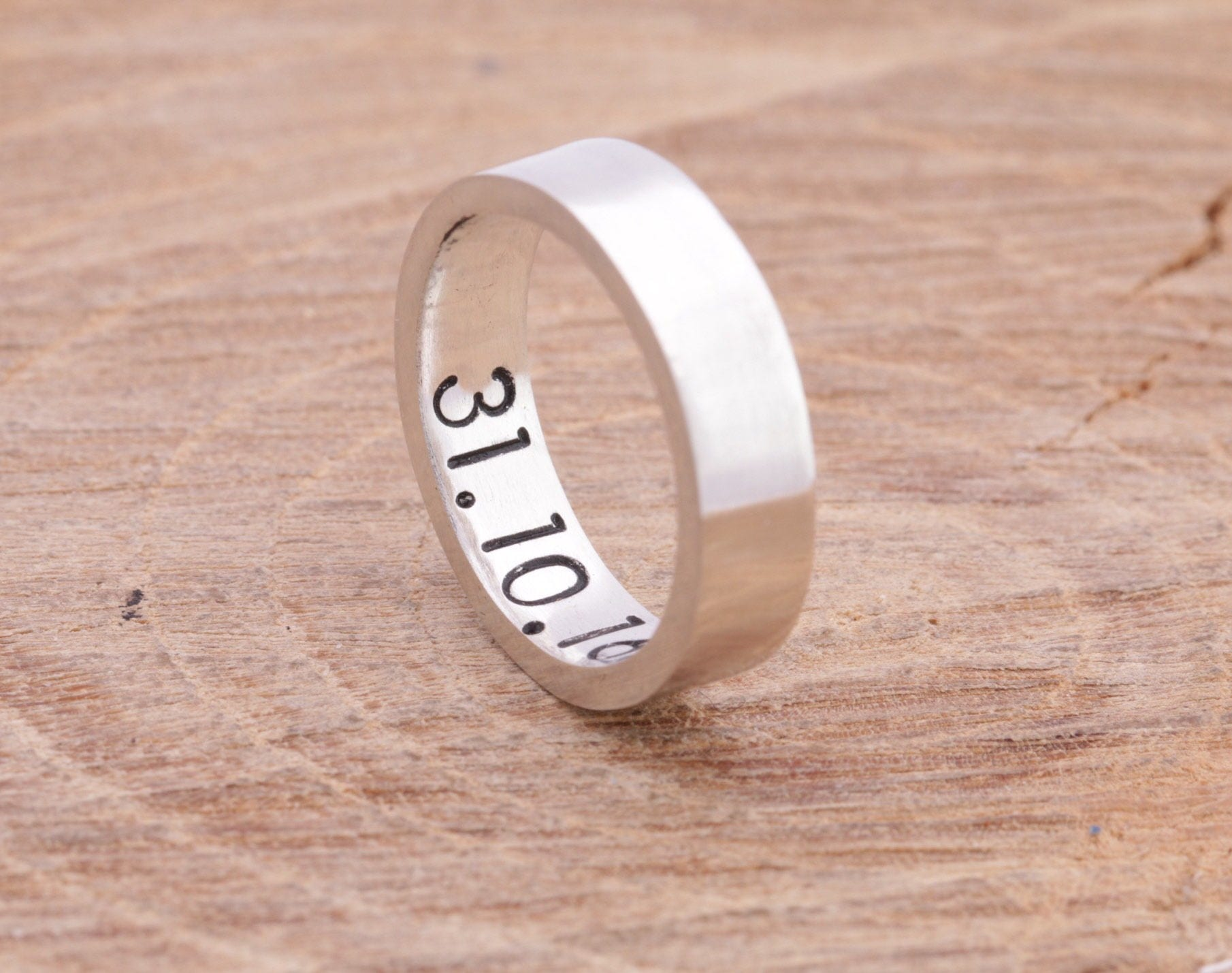 Sterling Silver Anniversary Ring|Silver Band Ring|Message Ring ...