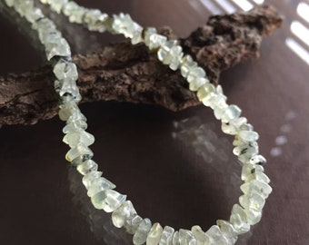 Prehnite Necklace, Prehnite and Sterling Silver Necklace