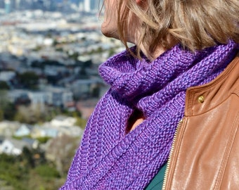 Mulberry Silk and Merino Wool Hand-knit Purple Infinity Scarf