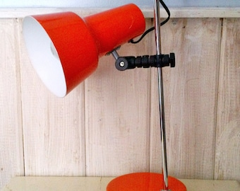 1960s 1970s Leviton Retro Orange Metal Adjustable Tilt Desk Table Top  Electric Lamp   Made In