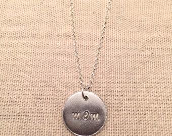 """Aluminum """"mom"""" pendant necklace"""