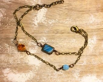 Blue Tile Boho Bracelet