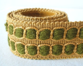 vintage woven trim in khaki and olive green 1 yard perfect for DIY or upcycling project