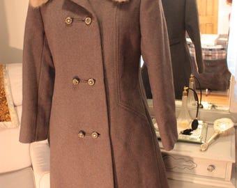 Vintage, double breasted, grey, virgin wool coat with fur trim