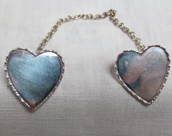 1940s - HANDMADE ARTIST HEART Sweater brooch Sterling Silver
