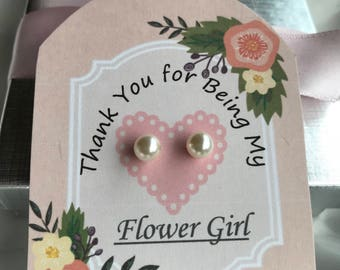 Flower Girl Thank You earrings, girls pearl earrings 6mm Swarovski,  flower girl gift, flower girl jewelry