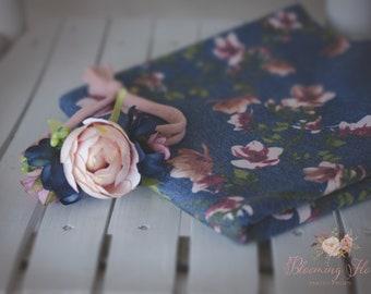 RTS  Denim Floral wrap and tieback set, Newborn Floral Photo prop set, Newborn Photo Prop, Floral wrap, Newborn tieback.