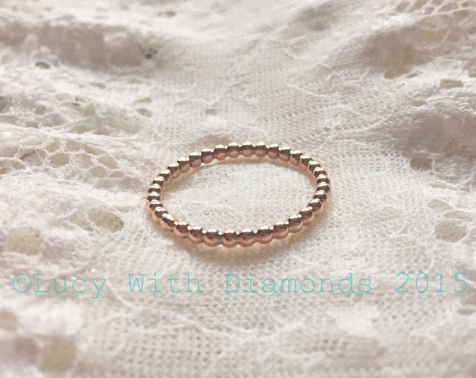 9ct Rose gold beaded ring stacking ring