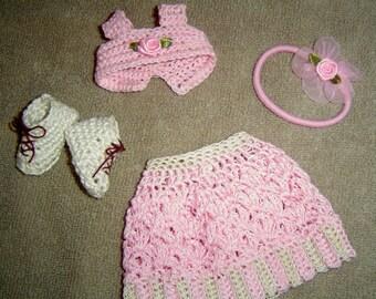 """0050 Miniature Crochet 4PC Pattern Smaller Ashton Drake Effner 13"""" dolls"""