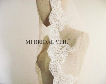 Mantilla Lace Veil, Lace Veil, Lace Wedding Veil, Fingertip Lace Veil, Elegant Rose Lace Veil, Mi Bridal Veil
