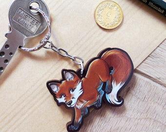 Maple wood keyring - Little Fox