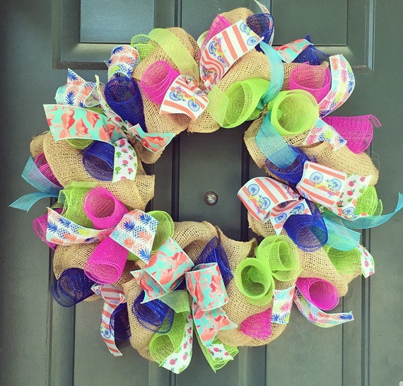 Colorful/ Multi-Pattern summer Wreath