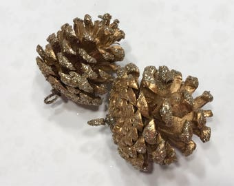 5 gold painted with gold glitter edge pine cone ornaments, on avarage 2 - 2 1/2 inch