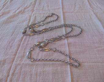 vintage unsigned st. john silver crystal station necklace sautoir kelly knits coutour long 47 in.
