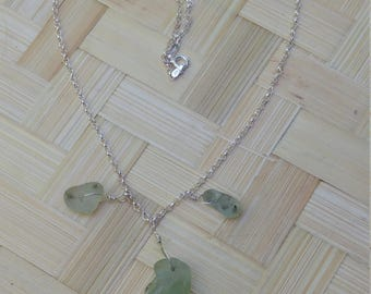 Necklace of bonfire seaglass on sterling silver chain