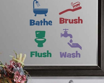 "Bathe Brush Flush & Wash Bathroom Wall Quote Sticker Decal (4""h each image)"