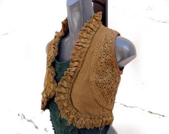 Crochet lace vest, Waiscoast cotton, Boho sleeveless jacket, Gypsy clothing, Boho Gypsy Festival Tribal