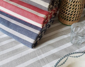 Tablecloth french stripes; striped tablecloth in 4 colors