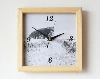 Snow Wall Clock - Photo Wall Clock - Winter Landscape Clock - Black and White Wall Clock - Square Wall Clock - Wooden Frame Clock