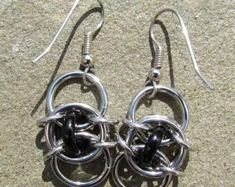 Chain Maille Earrings, Black Earrings, Glass Earrings, Black Jewelry, Glass Jewelry