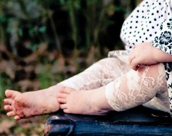 Baby Lace Leggings, Girls Lace Leggings, Toddler leggings,  Lace Leggings, White Lace Leggings, Ivory Lace Leggings, Black Lace Leggings