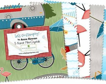 Let's Go Glamping 5 Inch Squares Charm Pack, 24 Pieces, Anne Rowan, Wilmington Prints, Precut Fabric, Quilt Fabric, Cotton Fabric, Metallic