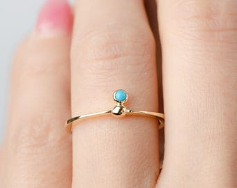 Minimal Floating Turquoise Ring, Gold Vermeil, Sterling Silver, Dainty Stackable Ring, Hand Made, Birthstone Gift, Lunaijewelry, RNG035TRQ