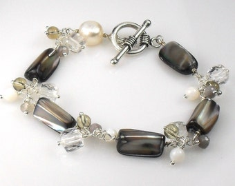Mother of Pearl Quartz Agate Cluster Sterling Winter Bracelet
