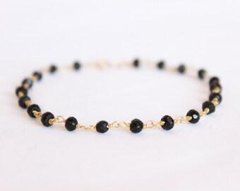 Black Spinel Bracelet - Gemstone Beaded Bracelet - Stacking Bracelet - Layering Bracelet - Simple Gold Bracelet - Black Bracelet - Thin