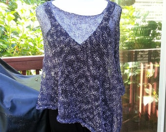 Dark Blue and White Knitted Women Cotton Poncho. Summer Poncho. Loose knit Boho Poncho. Asymmetric Poncho.
