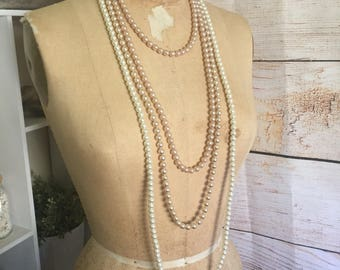 3 Beautiful long strands vintage faux pearl necklaces Rose Gold & Ivory