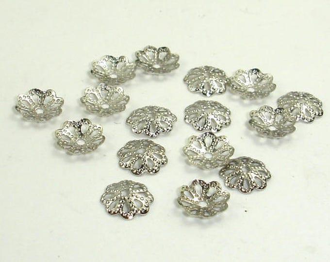 Bead Caps, Rhodium Plated, 6mm, 300 pcs, Hole 0.8mm (006851004)