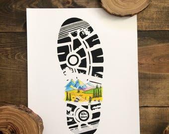 Hike More- Watercolor Painting, Watercolor Print, Hiking Print, Hiking Art, Boot Print, Outdoor Artwork, Sharpie Art, Mountain Art, Wall Art