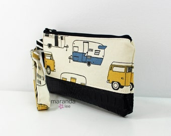 Flat Clutch - RV Blue with Black PU Leather READY to SHIp