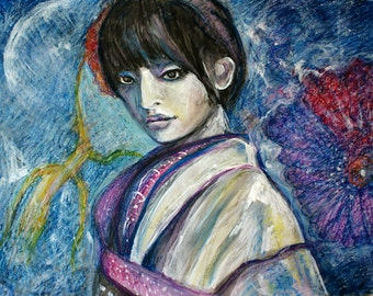 Young woman with flowers, young asian model girl posing as geisha, FINE ART PRINT from original acrylic painting, asian women portraits