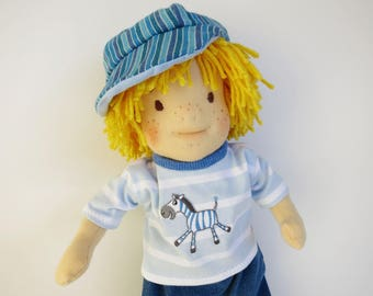 In loving handmade sewn rag doll for boys//doll made of cotton with sheep wool and organic wool//gift for children