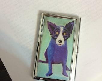 Aqua Blue Dog Credit Card Case Business Card Holder