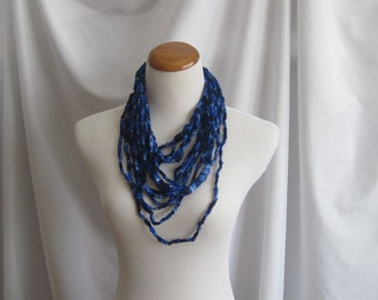 Infinity Crochet Scarf Cowl Necklace - Shades of Blue