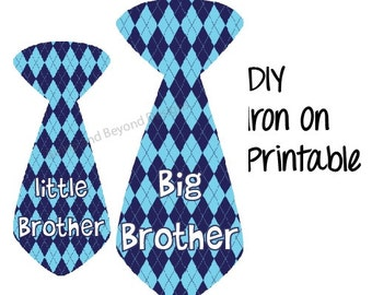 Sibling Shirts Iron On Transfers Big Brother Little Brother Argyle Ties set of 2 Boys Tie Printable INSTANT DOWNLOAD Baby Toddler Shirt 007