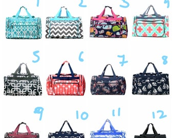 Monogrammed Print Duffel bag- chevron, elephant, arrow, baseball, whale, softball, boat, cow,cactus, anchor, doggy 20 inch sized duffle bags