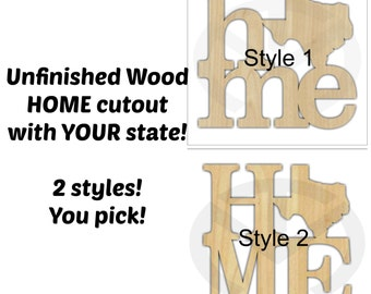 Home Wall/Door Decoration with Texas or Your State Shape, Unfinished Wood, Laser-Cut