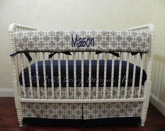 Baby Boy Crib Bedding Set Prentice - Baby Boy Bedding, Crib Rail Cover, Navy and Gray Baby Bedding