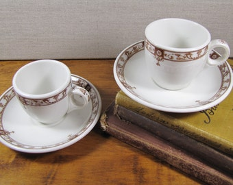 Two (2) Sets -  McNicol China - Small Teacup and Saucer - Creamy White - Brown Accent - Restaurant Ware