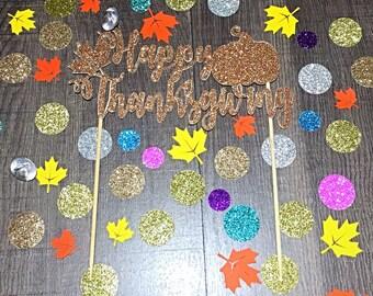 Happy Thanksgiving Cake Topper/ Thanksgiving Pie Topper/ Thanksgiving Cake Topper