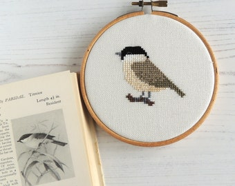 bird cross stitch marsh tit pattern, British bird cross stitch design, small cross stitch pattern, bird embroidery