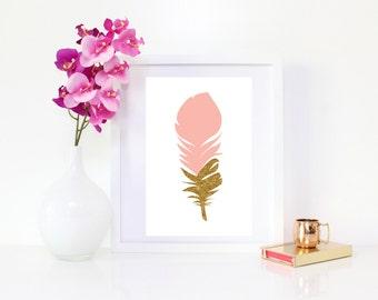 DIGITAL DOWNLOAD Pink Feather Art, Gold Glitter Feather, Pink Feather, Gold and Pink Feather, Feather Wall Decor, Cute Art, Gold Feather