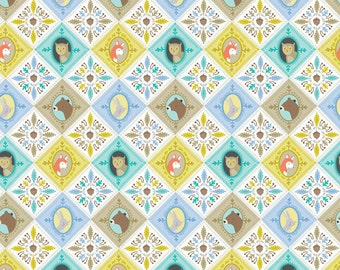 Patchwork Blue 113.108.01.2 Born Wild Collection Ana Davis Blend Fabrics, Woodland Wildlife Bears, Bunnies, Foxes, Owls, Nature