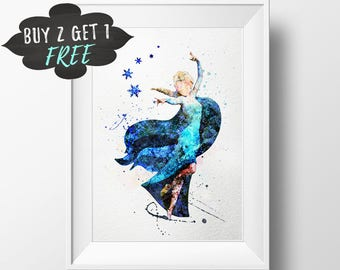 Frozen Elsa Art Print Poster, Frozen Wall Art Nursery Decor Printable Watercolor Instant Download, Disney Printable Art Kids Poster Print