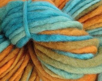 Orange Aqua Blue Dyed Yarn Bulky Chunky Weight Hand Dyed Wool Yarn Pencil Roving in Hopi Land 60 yards