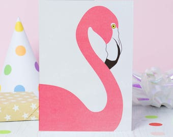 Pink Flamingo - Birthday Card - Greetings Card for Flamingo Lover - Flamingo Birthday - Cute birthday card for her - Card for girlfriend